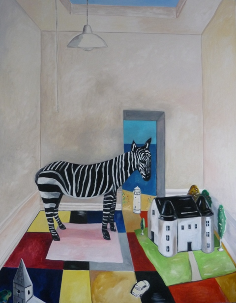 Zebra and chateau 2009 to 2011 oil on canvas Emrys Williams