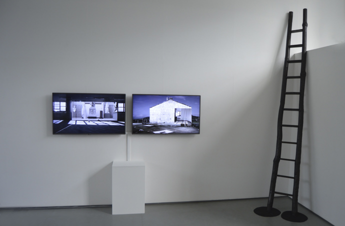 Reports to an Academy, Ailbhe N  Bhriain (screens) and Cave Ladder, 2014, Flora Parrott