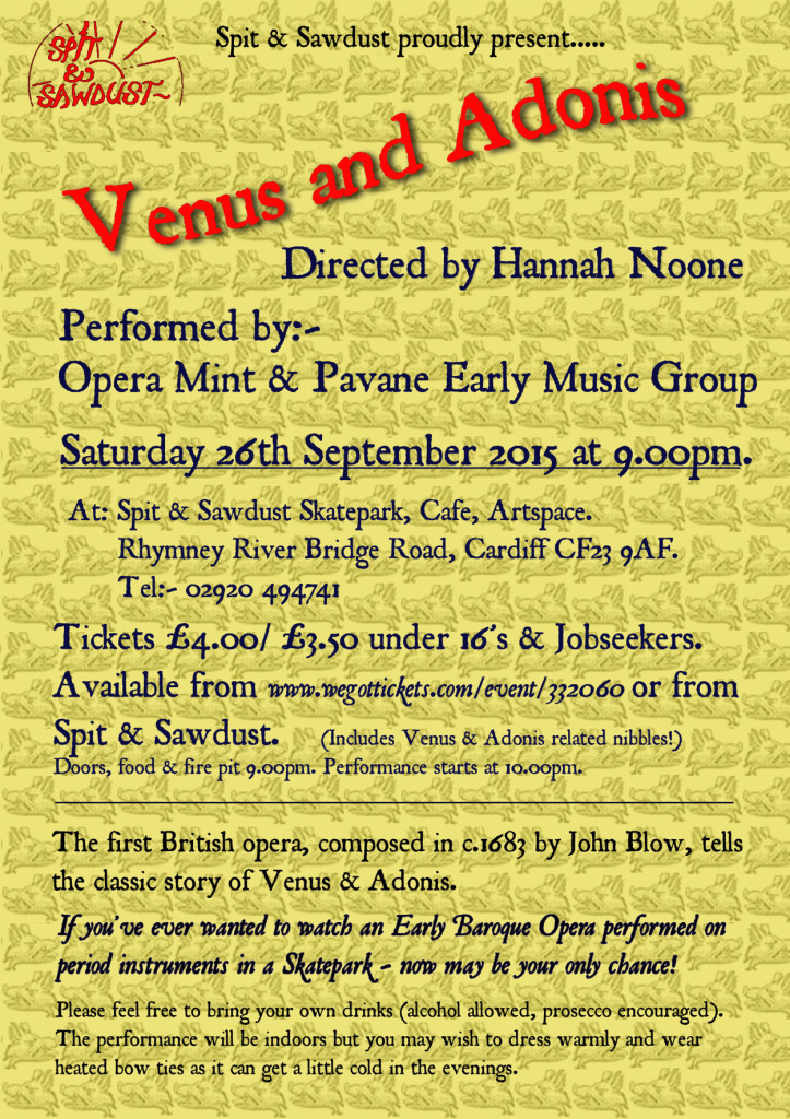 Venus and Adonis will be performed at Spit and Sawdust this Saturday